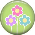 Spring Flowers on Green Background 1 Inch Button Badge Pin Pinback Button - 2064