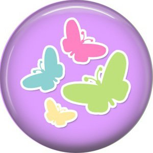 Butterflies on Purple Background 1 Inch Button Badge Pin Pinback Button - 2070