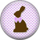 Easter Bunny with Pink Bow 1 Inch Button Badge Pin Pinback Button - 2072