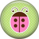Ladybug on Green Background 1 Inch Button Badge Pin Pinback Button - 2073