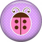 Ladybug on Purple Background 1 Inch Button Badge Pin Pinback Button - 2081