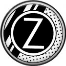 Stripes and Dots, 1 Inch Pinback Button Badge Art Deco Style Alphabet Letter Z