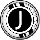 Stripes and Dots, 1 Inch Pinback Button Badge Art Deco Style Alphabet Letter J