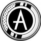 Stripes and Dots, 1 Inch Pinback Button Badge Art Deco Style Alphabet Letter A