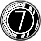 Stripes and Dots, 1 Inch Pinback Button Badge Art Deco Style Alphabet Number 7
