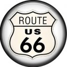 Route US 66 Shield, 1 Inch Americana Button Badge Pinback - 0411