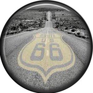 Route 66 Pavement, 1 Inch Americana Button Badge Pinback - 0412