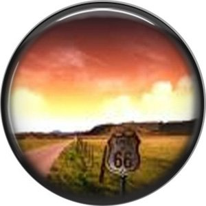 Route 66 Sunset 1 Inch Americana Button Badge Pinback - 0418