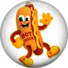 Dancing Hot Dog 1 Inch Americana Button Badge Pinback - 0427