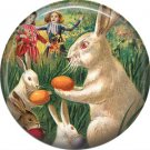"1"" Inch Pinback Button Badge Vintage Easter Image of Bunnies Hiding Eggs - 0132"