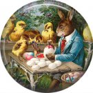 "1"" Inch Pinback Button Badge Vintage Easter Image of Rabbit Coloring Eggs - 0136"