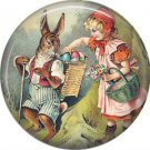 "1"" Inch Pinback Button Badge Vintage Easter Image of Rabbit with Little Red Riding Hood - 0137"