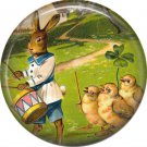 "1"" Inch Pinback Button Badge Vintage Easter Image of Rabbit Drummer and Chicks - 0138"