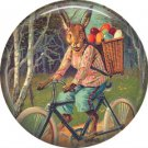 "1"" Inch Pinback Button Badge Vintage Easter Image of Rabbit on Bicycle - 0139"