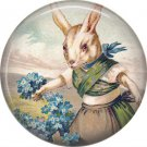"1"" Inch Pinback Button Badge Vintage Easter Image of Rabbit Picking Forget Me Nots - 0141"