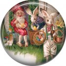 """1"""" Inch Pinback Button Badge Vintage Easter Image of Rabbits with Gnome - 0142"""