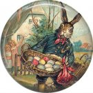 Rabbit Holding Basket of Eggs, Vintage Easter Image on 1 Inch Button Badge Pin - 0145