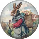 Mama Rabbit Carrying Basket of Eggs, Vintage Easter Image on 1 Inch Button Badge Pin - 0149