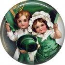Irish Children Ephemera Lapel Pin, St. Patricks Day 1 Inch Pinback Button  - 0429