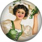 Irish Lass Ephemera Lapel Pin, St. Patricks Day 1 Inch Pinback Button Badge - 0430