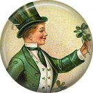 Irish Lad with Bouquet of Shamrocks, St. Patricks Day 1 Inch Pinback Button Badge  - 0432