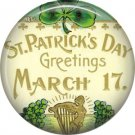 March 17 St Patricks Day Greetings 1 Inch Ephemera Lapel Pin, Button Badge  - 0435
