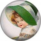 Irish Lassie in Wide Brim Hat 1 Inch Ephemera Lapel Pin, St. Patricks Day Button Badge  - 0436