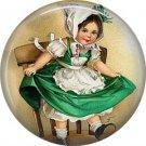 Irish Lassie Dancing on Chair, 1 Inch Ephemera Lapel Pin, St. Patricks Day Button Badge  - 0437