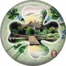 View of Ireland in Shamrock, 1 Inch Ephemera Lapel Pin, St. Patricks Day Button Badge  - 0440