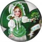 1 Inch Irish Lassie with Shamrock Bouquet Ephemera Lapel Pin, St. Patricks Day Button Badge  - 0441