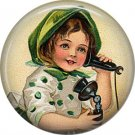 1 Inch Irish Lassie Talking on Telephone Ephemera Lapel Pin, St. Patricks Day Button Badge  - 0442