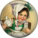 1 Inch Irish Lassie in Kerchief Ephemera Lapel Pin, St. Patricks Day Button Badge  - 0444