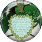 1 Inch Gather Ye Shamrocks Verse Ephemera Lapel Pin, St. Patricks Day Button Badge  - 0445