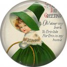 1 Inch Irish Lassie Dressed in Green Ephemera Lapel Pin, St. Patricks Day Button Badge  - 0448