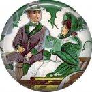 1 Inch Irish Couple in Automobile Ephemera Lapel Pin, St. Patricks Day Button Badge  - 0452