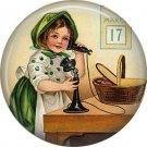 1 Inch Irish Lassie with March 17 Calendar Ephemera Lapel Pin, St. Patricks Day Button Badge  - 0453