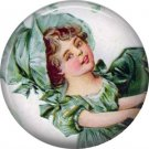 1 Inch Irish Lassie in Round Eared Cap Ephemera Lapel Pin, St. Patricks Day Button Badge  - 0456
