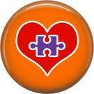 Puzzle Piece inside Heart on Orange, Autism Awareness 1 Inch Pinback Button Badge Pin - 0496