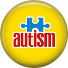 Autism Awareness Puzzle Piece on Yellow Background, 1 Inch Pinback Button Badge - 0492