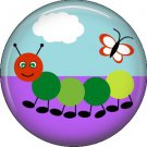 Caterpillar and Butterfly on Sky Background Spring Critters 1 inch Button Badge Pin - 0092
