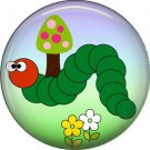 Green Caterpillar on Sky Background Spring Critters 1 inch Button Badge Pin - 0094