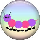 Pink and Purple Caterpillar Spring Critters 1 inch Button Badge Pin - 0096