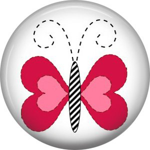 Pink Butterfly Spring Critters 1 inch Button Badge Pin - 0097