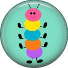 Multi Color Caterpillar on Aqua Background Spring Critters 1 inch Button Badge Pin - 0098