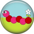 Red Caterpillar Spring Critters 1 inch Button Badge Pin - 0100