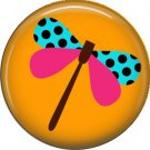 Dragonfly on Orange Background Spring Critters 1 inch Button Badge Pin - 0101