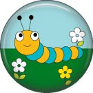 Yellow and Blue Caterpillar Spring Critters 1 inch Button Badge Pin - 0104