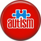 Puzzle Piece on Red, Autism Awareness 1 Inch Button Badge Pin - 0510