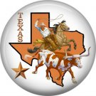 Texas Rodeo Cowboy on Steer, 1 Inch Texas Pride Pinback Button - 0798