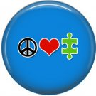 Peace Love Autism on Blue, Awareness 1 Inch Button Badge Pin - 0521